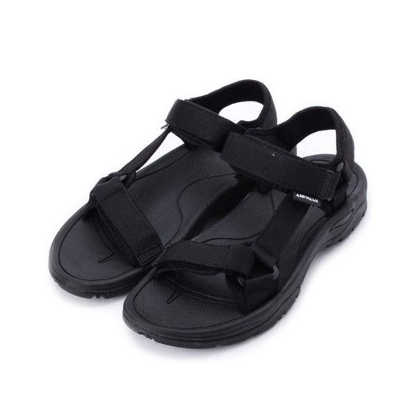 AIRWALK 全黑 兩條魔鬼氈黏帶 涼鞋涼鞋 男 (布魯克林) A821230120