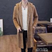 針織開衫男士毛衣外套薄款春秋韓版潮流中長線衣2019新款修身外穿 依凡卡時尚