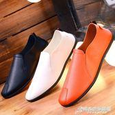 新款夏季豆豆鞋男士休閒鞋子韓版百搭個性潮流皮鞋懶人一腳蹬