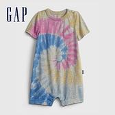 Gap嬰兒 紮染純棉短袖包屁衣 702741-彩色紮染
