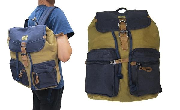 ~雪黛屋~troop 後背包中大容量可A4資料夾帆布經典100%純棉加強防水帆布耐磨耐重外袋STRP0417