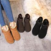 5854新品韓版女短筒雪地靴真皮加厚毛情侶款防滑休閒低幫百搭男靴 藍嵐