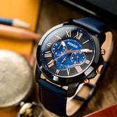 FOSSIL GRANT 復古羅馬三眼計時真皮腕錶 FS5061 熱賣中!
