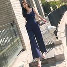 VK精品服飾 韓系簡約收腰背帶褲復古連身褲套裝無袖褲裝
