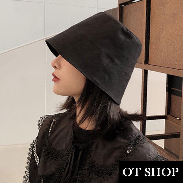 [現貨]帽子 純色黑色棉質硬版漁夫帽 水桶帽 盆帽 遮陽帽 中性暗黑 復古配件 黑色 C2106 OT SHOP