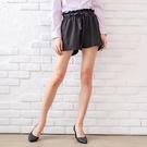 短褲--輕甜優雅俏麗百搭凸點雪紡雙口袋寬口鬆緊腰綁帶花苞短褲(黑XL-4L)-R167眼圈熊中大尺碼◎