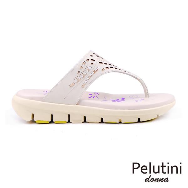 【Pelutini】donna鏤空雕花涼拖鞋 米色(6939W-BE)