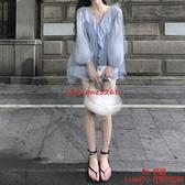 荷葉邊雪紡衫女純欲風長袖襯衫夏設計感別致上衣【CH伊諾】