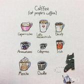刺繡 創意客廳新款掛畫卡通動物咖啡貓亞麻布童房 YN577『易購3c館』