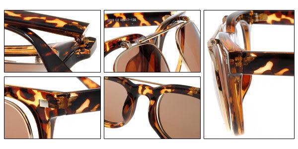 EJING太陽眼鏡 EJP2218 C2 (琥珀色) 歐美掀蓋式圓框墨鏡 # 金橘眼鏡