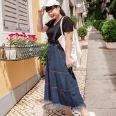 Poly Lulu 個性下擺抽鬚造型牛仔吊帶裙-深藍【95070043】