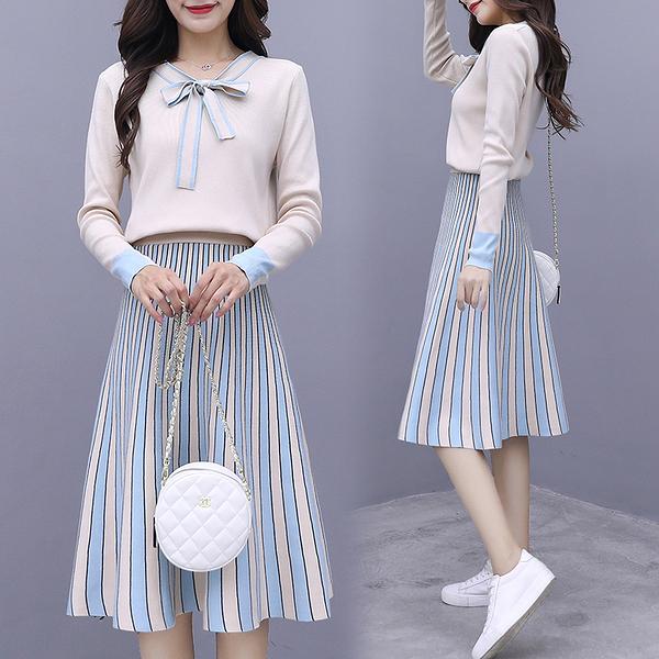 套裝 洋裝 S-XL 時尚套裝2020秋季新款拼接針織條紋連身裙顯瘦連身裙9636 H430-B 依品國際