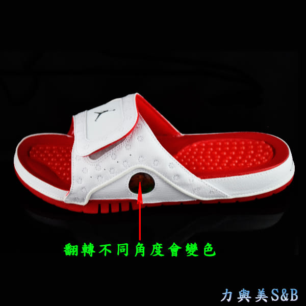 【JORDAN】NIKE 男運動拖鞋 腳背魔鬼氈設計可調整腳背鬆緊 白色鞋面+紅色底色 【684915121】
