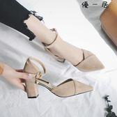 涼鞋女韓版一字扣高跟鞋粗跟包頭女鞋