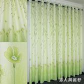田園窗簾 客廳臥室陽臺飄窗半遮光成品窗簾綠色布料 XY5321 【男人與流行】TW