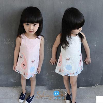 【R0118】shiny藍格子-嬰幼館.夏裝新款歐美風女童圓領立體繡花背心裙