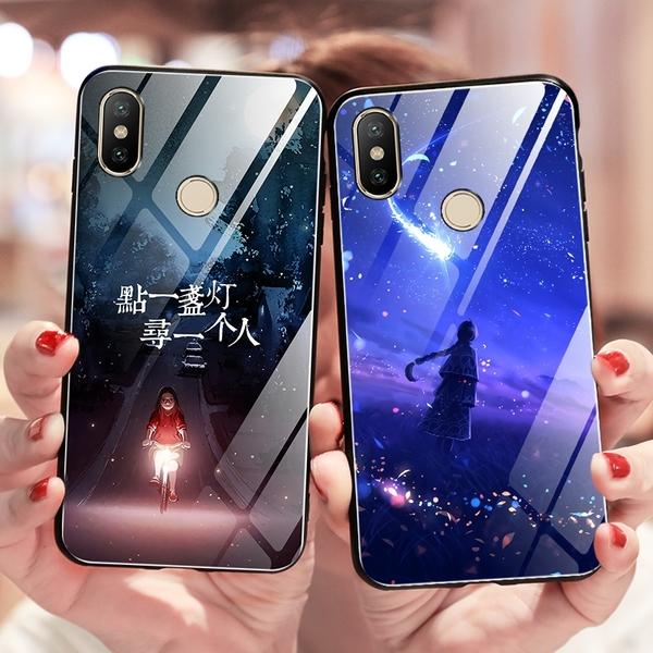 小米MIX3 手機殼 玻璃殼 保護殼 外殼 夜光彩繪個性創意殼 全包防摔防刮手機套 鏡面玻璃防刮殼