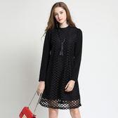 中大尺碼~氣質微立領加絨長袖連衣裙(L~5XL)