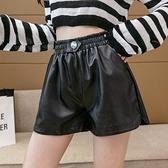 短褲休閒褲闊腿褲S-XL皮短褲寬鬆a字闊腿褲顯瘦秋款高腰pu皮褲T507A-8736.