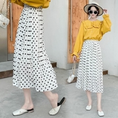 2020新款春裝韓版時尚超仙氣質圓點雪紡顯瘦中長款波點半身裙女   圖拉斯3C百貨