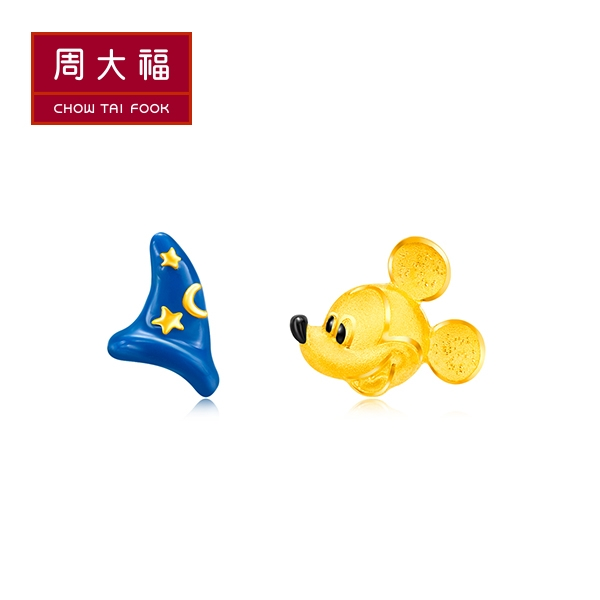 魔法米奇黃金耳環 周大福 迪士尼經典系列
