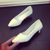新款尖頭單鞋女春淺口3cm高跟鞋女細跟尖頭紅色漆皮女鞋中跟-十週年店慶 優惠兩天