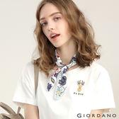 GIORDANO 女裝圓領可愛刺繡寬短版T恤-01 皎雪色