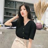 V領上衣雪紡短袖女新款韓版甜美洋氣小衫寬鬆小清新氣質V領上衣潮  凱斯盾數位3C