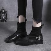 襪子靴女短靴秋季新款百搭平底網紅瘦瘦靴低跟英倫風小皮鞋潮 韓國時尚週
