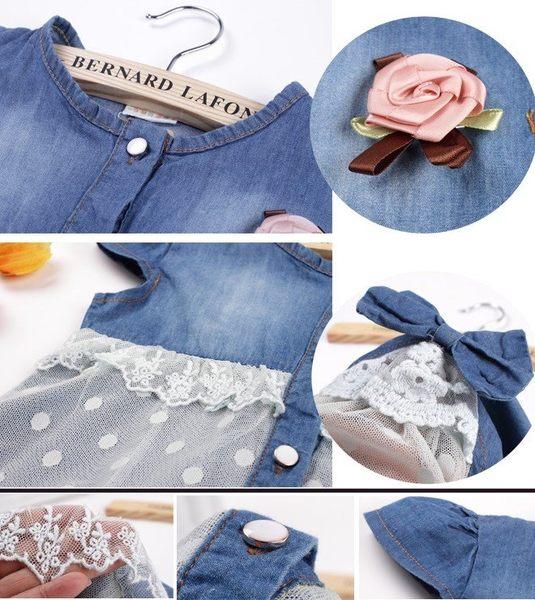 韓版《紗花牛仔裙》甜美短袖上衣