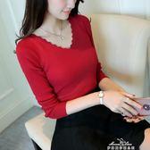 新款女V領彈力針織套頭打底衫顯瘦修身長袖毛衣上衣潮 早秋最低價
