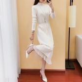 針織洋裝女半高領毛衣純色繫帶蕾絲長裙過膝打底衫 沸點奇跡