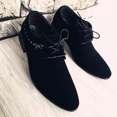 皮鞋男士英倫黑色磨砂尖頭皮鞋商務韓版青少年男鞋子 可可鞋櫃