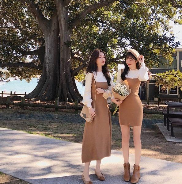 假兩件針織洋裝連身裙