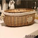 框子柳編收納筐有蓋藤編收納籃橢圓大號儲物籃子創意收納籃零食盒 WY傑森型男館