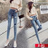 破洞貼布補丁九分鉛筆牛仔褲 S-XL O-ker歐珂兒 16831