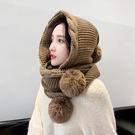 正韓毛線帽子女秋冬百搭連圍巾一體帽冬季可愛護耳加厚保暖針織帽  快速出貨