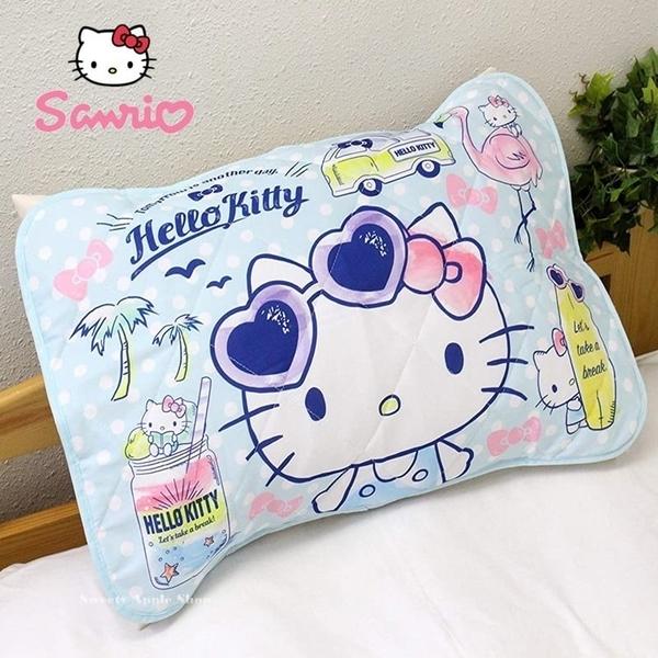 日本限定 三麗鷗 HELLO KITTY 凱蒂貓 夏日版 接觸冷感 枕頭 保潔墊