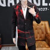 雙12購物節   中長款發型師小西裝韓版男春秋季薄西服個性夜場風衣修身拉風外套   mandyc衣間