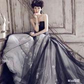 禮服 天使嫁衣高貴時髦黑灰撞色公主氣場抹胸婚紗晚宴年會  BQ964『miss洛羽』