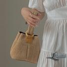 可愛手提包草編包小眾個性錬條側背包編織包...