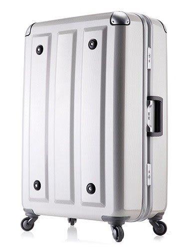 MOM JAPAN日本品牌 輕量化護角鋁框鏡面 旅行箱-24吋-方格白