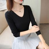 【優選】袖V領上衣打底衫短款套頭女毛衣修身針織衫