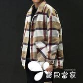 男士大衣 秋冬季毛呢子大衣格子外套男士短款加厚韓版潮流修身帥氣2018新款