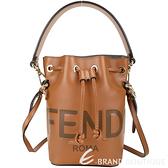 FENDI MON TRESOR 迷你款 字母標誌小牛皮抽繩斜背水桶包(棕色) 2040235-B3