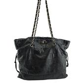 【奢華時尚】CHANEL 黑色四方格牛皮銀鍊肩背購物包(八八成新)#25227