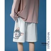 運動短褲女夏顯瘦寬鬆直筒高腰中褲百搭闊腿卡通設計感褲子【聚物優品】