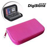 【2件85折】DigiStone 22片裝多功能記憶卡收納包(18SD+4CF)-玫紅X1【防震/防潑水】【EVA防靜電】