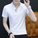 男生短袖T恤 短袖t恤男夏季V領修身丅恤潮流夏裝有領純白色上衣服純棉冰絲半袖 快速出貨