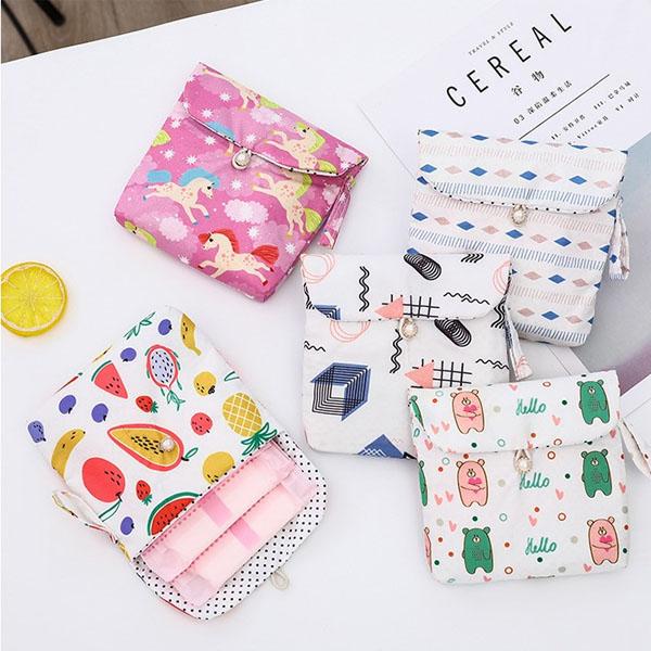 衛生棉包-小清新手繪風滿版印花衛生棉包仕女包盥洗包收納包【AN SHOP】